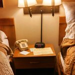 Lamps and alarm clock in between beds.