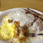 Chicken Fried Chicken and hashbrowns and eggs