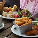 Kids fish'n'chips and enormous cheese ploughmans