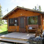 Front view of the cabin porch