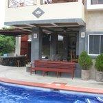 Dining area near pool