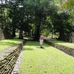 posing for photos among the Mayan ruins