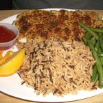 Whitefish Special: broiled with a seafood stuffing mixture spread on top. Wild rice. Green beans