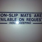 sign as opposed to providing non slip mats