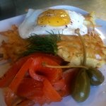Latkes and gravlax with fried egg