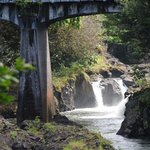 The arched bridge (nearby landmark) and falls