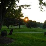 Beautiful grounds at sunset