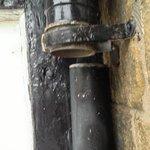No 5 broken drainpipe - water pours in through bathroom window