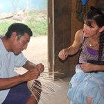 Juan Chiac demonstrates his basket weaving