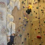 2 views of the many climbing walls