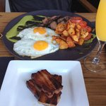 My friends steak and eggs @ brunch, with a side of pork belly
