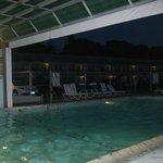 Indoor/Outdoor pool in the evening.