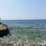 la spiaggetta di Chiessi: acque limpife e cormorani