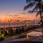 Diners enjoying sunset at the Breeze restaurant