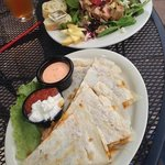 Steak and goat cheese quesadillas with Ahi tuna salad.