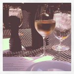 My wine, the Zee's Menu, and the sunshine!