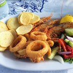 calamari fritti e gamberi