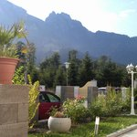 view of mountains from the garden