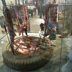 meat being smoked in the front window