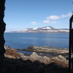 The view over to a snow-covered Arran from The Green Room window