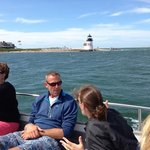 water shuttle to toppers.  brant point in background.