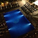 night time pool view from room 517