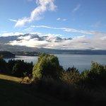 Morning view of a sunny Lake Wakatipu in winter