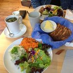 Burren Perfumery - salad selection with homemade bread, Irish smoked mackeral with varios homema