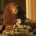 The Lion & Lamb statute out front