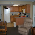 Kitchen and some of living room.