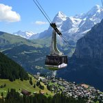 Cable car and view of Murren nestled in the Alps