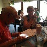 Grandad with Strawberry Milkshake ordering a NY Strip at Charley's