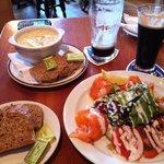Seafood chowder, smoke salmon salad
