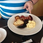 pork and chive sausage, bacon, black pudding, grilled tomato, scrambled egg and underdone soda a
