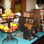 Fresh made waffle and fruit station