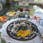 Sandy's stellar breakfast on the porch