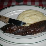 Prime Hanger Steak with buttery mashed potaoes