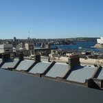 Roof top view Harbour Bridge left and Opera House right