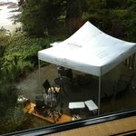View from Room 25, On the Beach building (tent for crab cookout beneath our window)