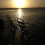 dive boat sunset