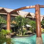 Suites overlook pool
