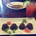Edamame falafel with black sesame tahini, and a watermelon agua fresca to drink.