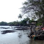 Volcano-rocky beach, lovely calm water