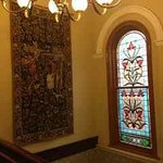 Lovely leadlight and tapestry