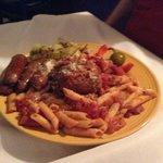 pomadoro sauce, itian sausage and huge meatballs