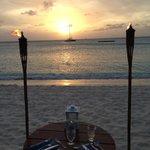 Torchlight dinner sunset