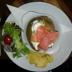 Salmon cheese baked potato