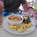 Mousaka comes with chips and salad unlike most resteraunts