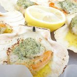 Devon scallops roasted with garlic butter