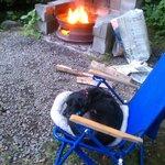 Saasy girl enjoying campfire